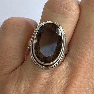 Oval Smoky Quartz 925 Silver Ring 5.75